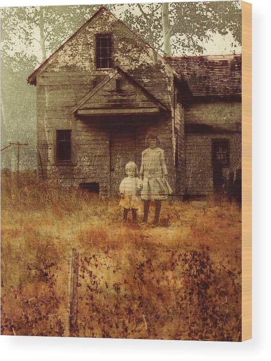 Ghosts Wood Print featuring the photograph Little Sister by Brande Barrett