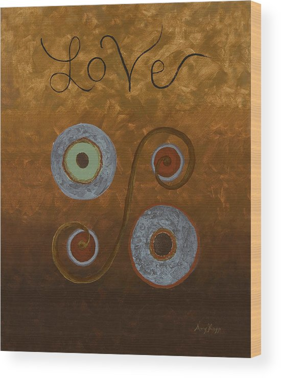 Modern Wood Print featuring the painting Love by Amy Parker Evans