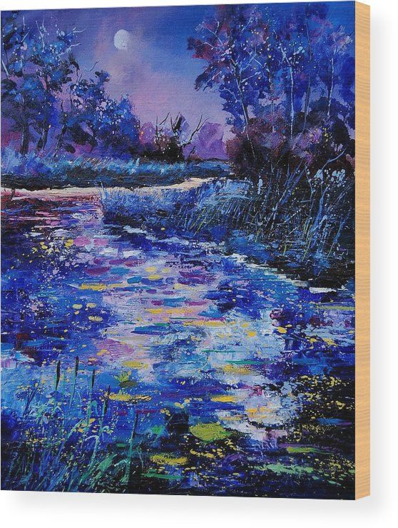 River Wood Print featuring the painting Magic Pond by Pol Ledent