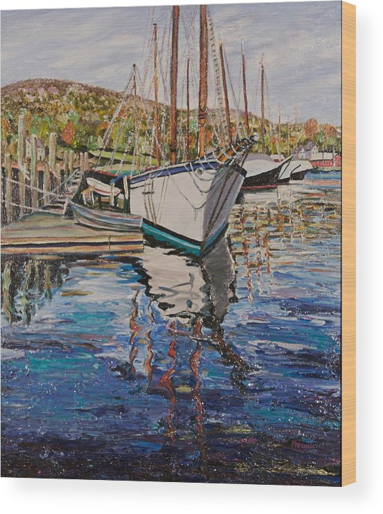 Maine Wood Print featuring the painting Maine Coast Boat Reflections by Richard Nowak