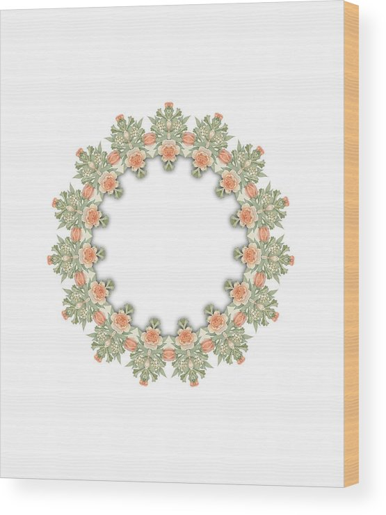 Becky Hayes Wood Print featuring the digital art Mandala/photoart Orange Flowers-1 by Becky Hayes