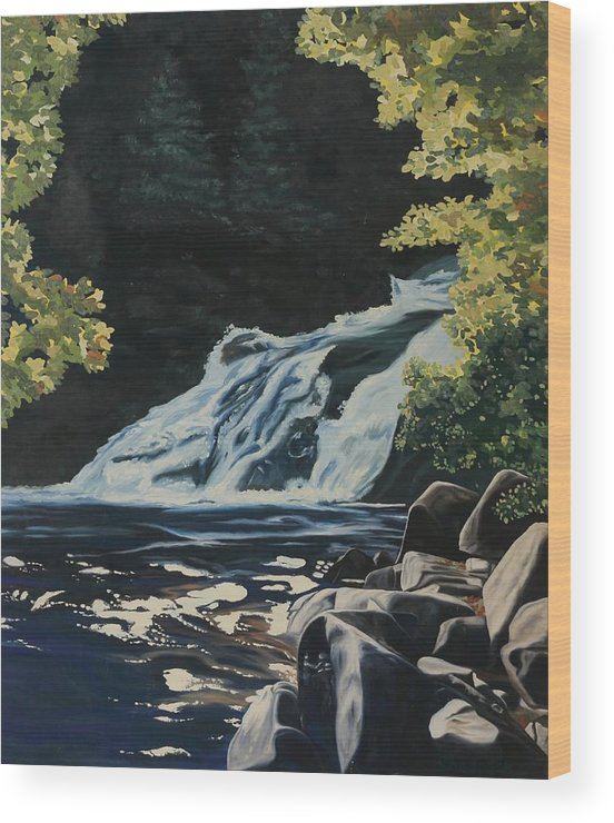 62 Wood Print featuring the painting Mary Ann Falls On The Cabot Trail by Phil Chadwick