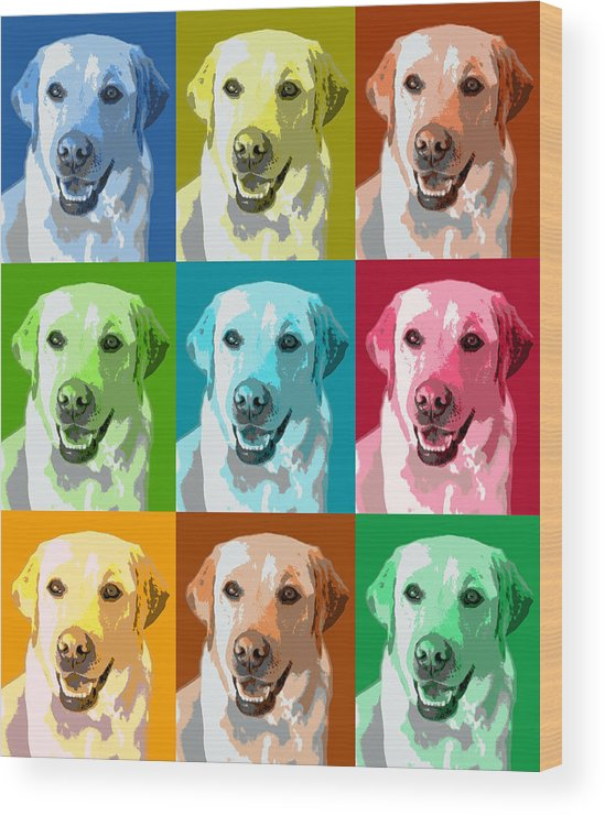 Americana Wood Print featuring the photograph Golden Retriever Warhol by Marilyn Hunt