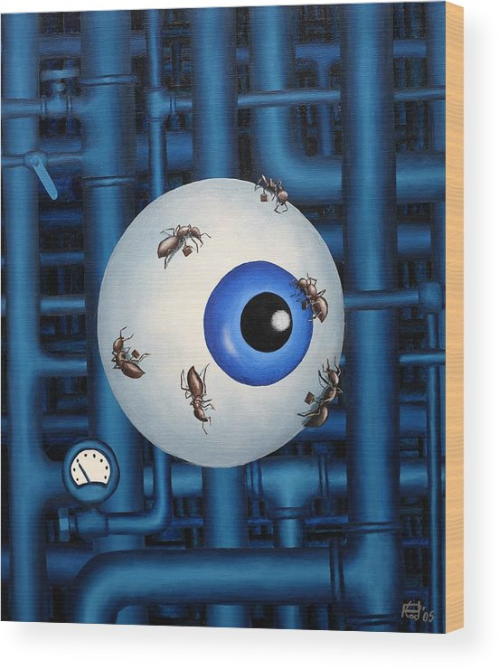 Steampunk Pipes Eye Ants Clock Industrial Surreal Wood Print featuring the painting My Day Job by Poul Costinsky
