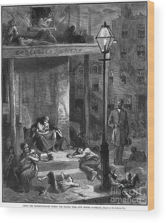 1879 Wood Print featuring the photograph New York Poor In Summer by Granger