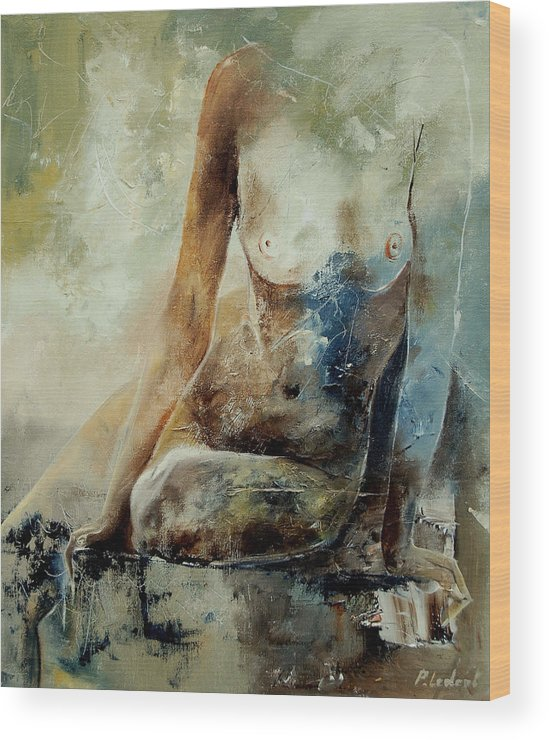 Nude Wood Print featuring the painting Nude 560408 by Pol Ledent