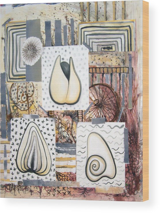 Abstract Wood Print featuring the painting Nuts by Valerie Meotti