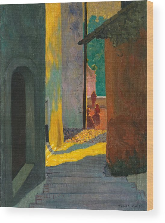 Old Street In Cagnes. Sunset Wood Print by Felix Vallotton