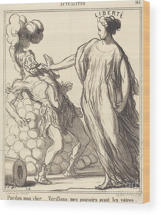 Wood Print featuring the drawing Pardon Mon Cher... by Honor? Daumier