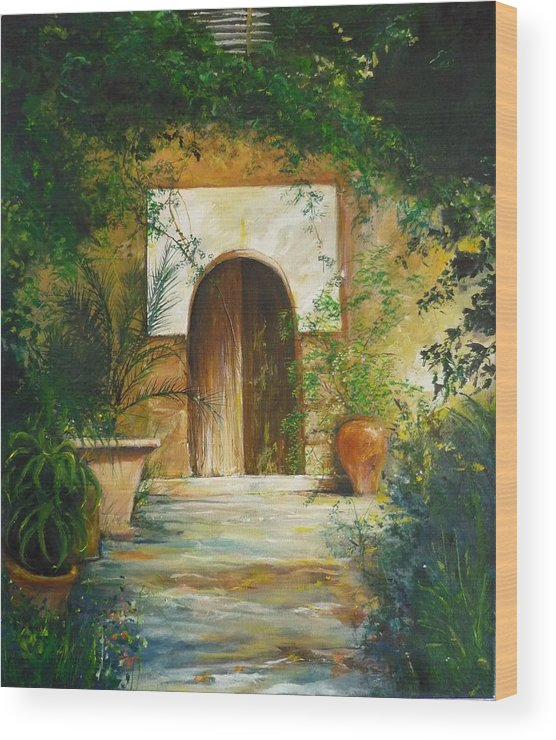 Farmhouse Courtyard Wood Print featuring the painting Patio Mallorquin by Lizzy Forrester