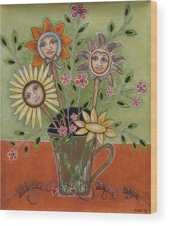 Folk Art Paintings Wood Print featuring the painting Perfect Garden by Rain Ririn