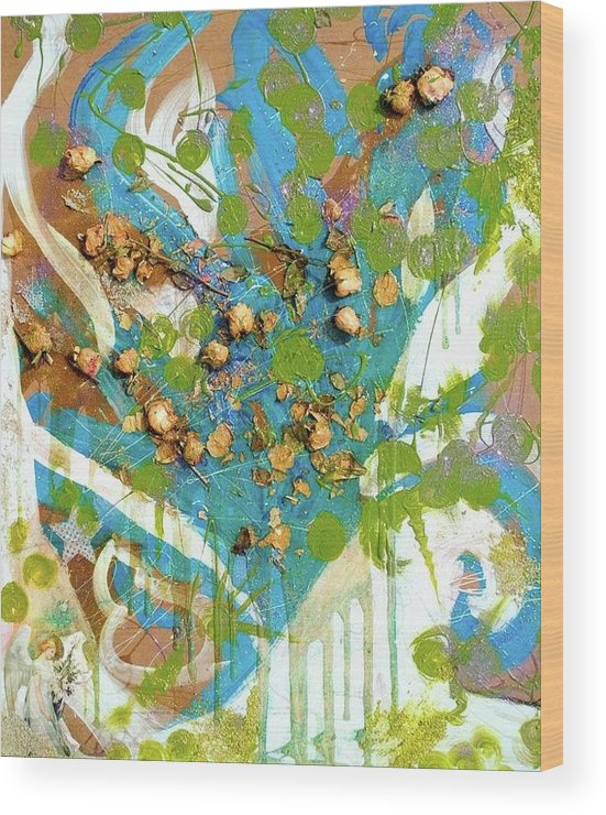 Flowers Wood Print featuring the mixed media Pieces Of Me by Christina Bolinger
