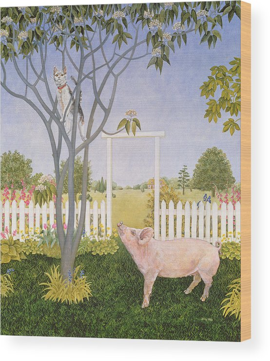 Pig Wood Print featuring the painting Pig And Cat by Ditz