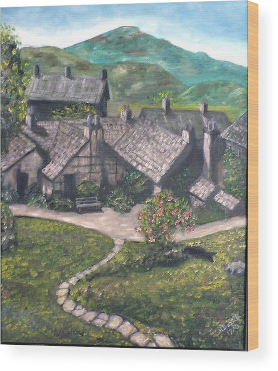 Pastoral Cottages Wood Print featuring the painting Poet by Dan Bozich