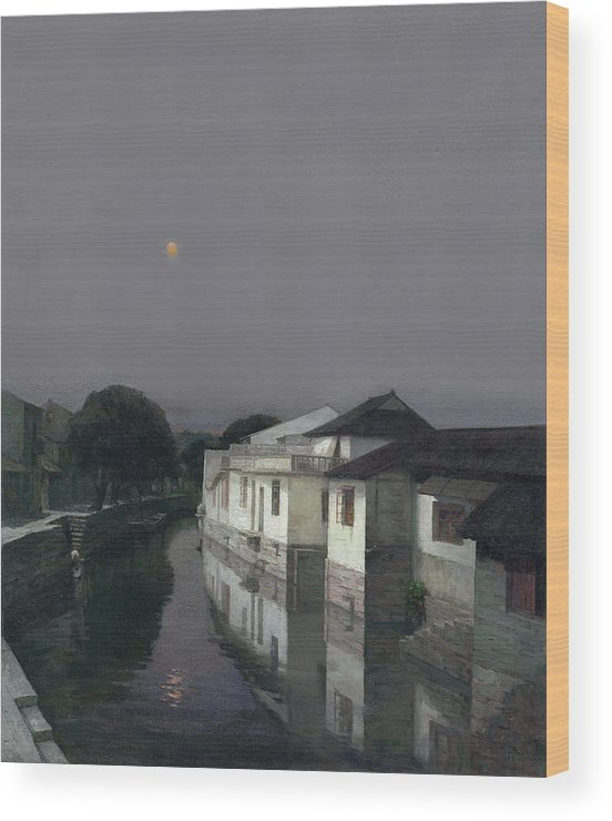 Riverside Village Wood Print featuring the painting Riverside Village by Zhang Chongqing