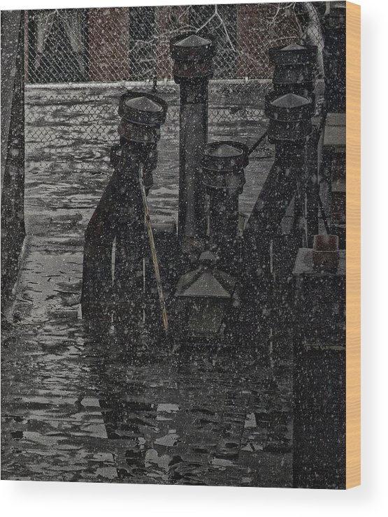 Snow Wood Print featuring the photograph Rooftops During Snow by Robert Ullmann