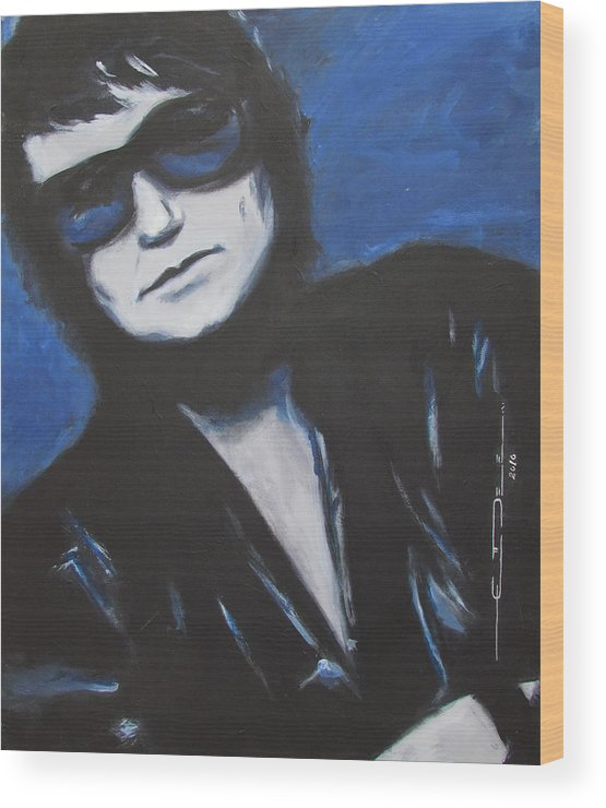 Celebrity Portrait Wood Print featuring the painting Roy Orbison In Beautiful Dreams - Forever by Eric Dee