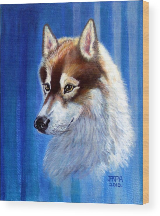 Siberian Husky Wood Print featuring the mixed media Sabre by James Richardson