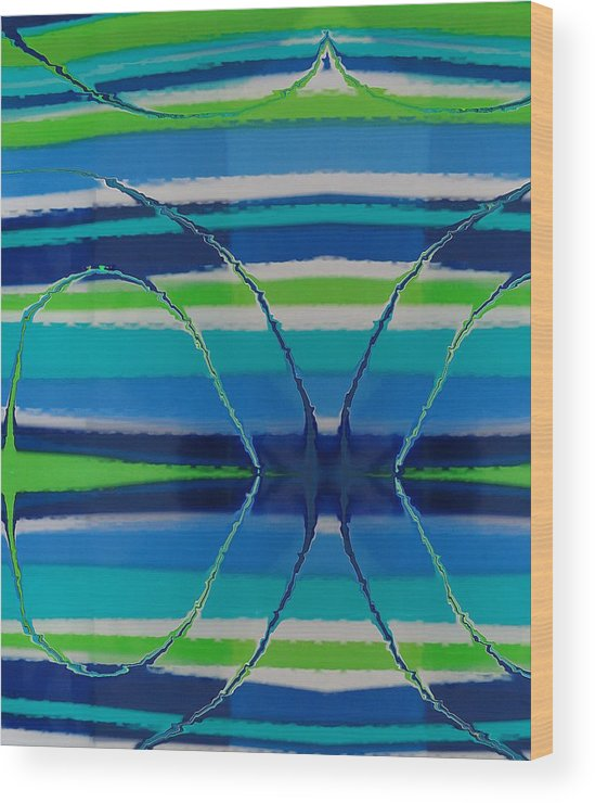 Abstract Wood Print featuring the painting See Thru Blue by Florene Welebny