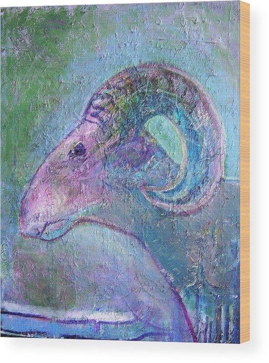 Sheep Animals Wood Print featuring the painting Sheep by Dave Kwinter