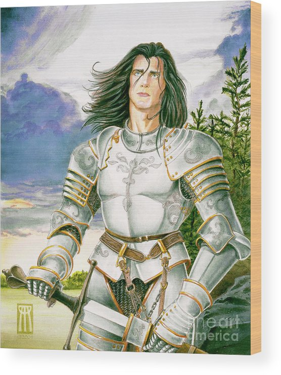 Swords Wood Print featuring the painting Sir Lancelot by Melissa A Benson