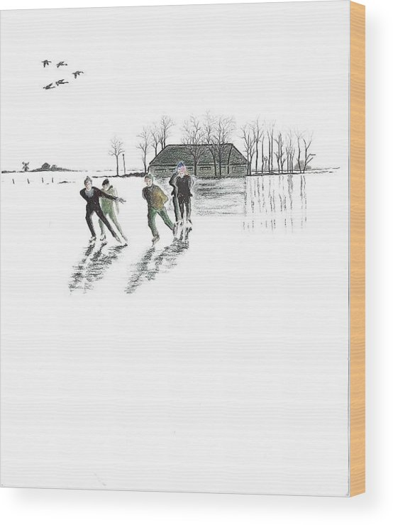 Winter Scene Wood Print featuring the drawing Skaters On The Ice by Rich Torres