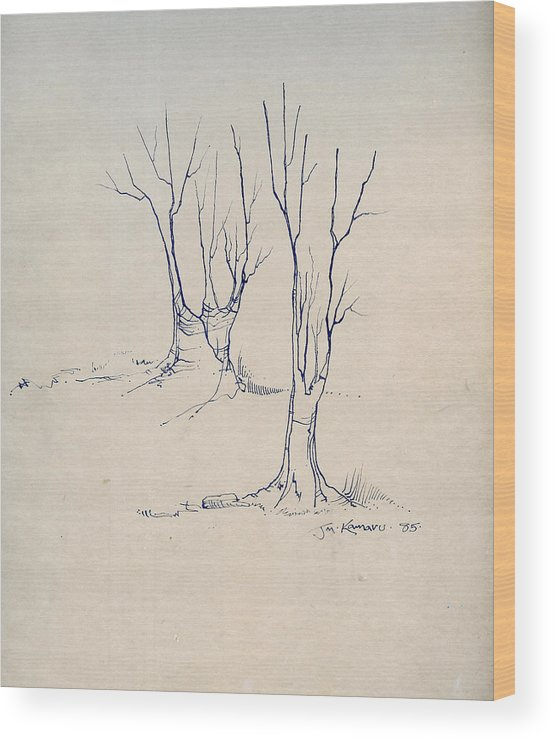 Joan Kamaru Wood Print featuring the drawing Sketch 4 by Joan Kamaru