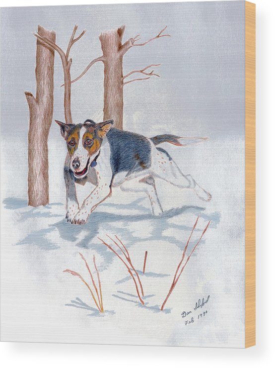 Dan Shuford Wood Print featuring the drawing Snow Bound by Daniel Shuford