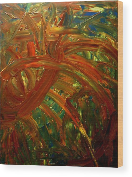 Abstract Wood Print featuring the painting Speyedr In The Grass by Karen L Christophersen