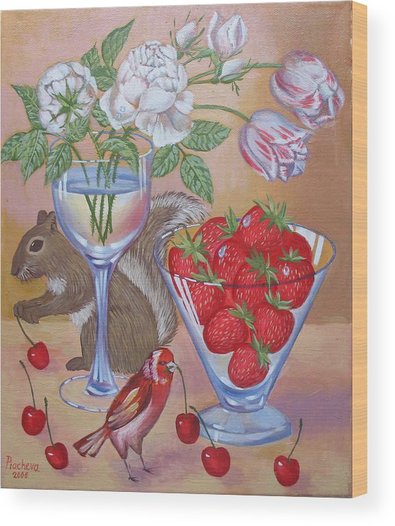 Food Wood Print featuring the painting Squirrel Cherry .2006 by Natalia Piacheva