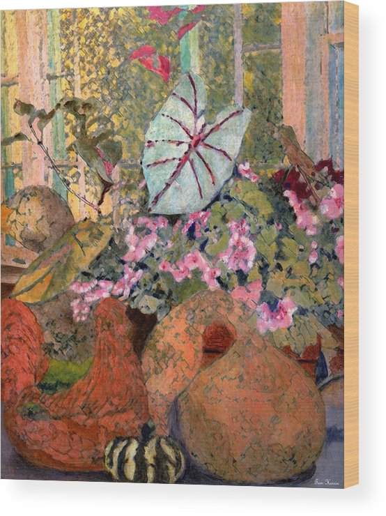 Still Life Wood Print featuring the painting Still Life At White Wagon Farm by Tom Herrin