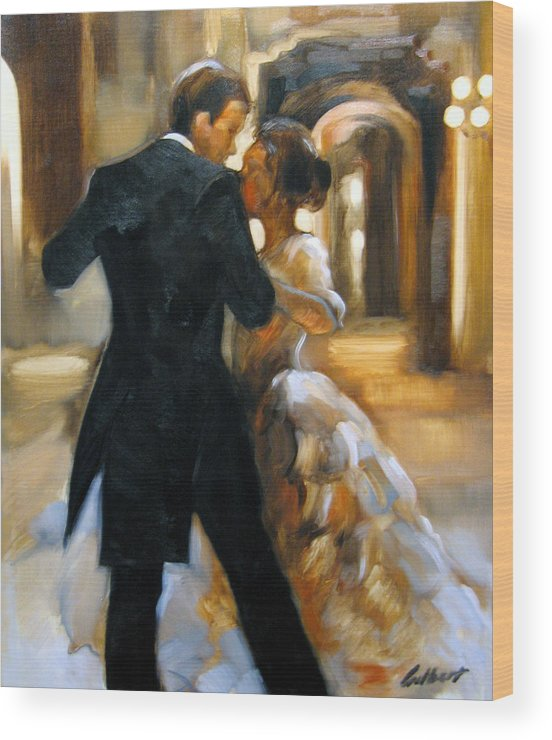 Figurative Wood Print featuring the painting Study For Last Dance 2 by Stuart Gilbert