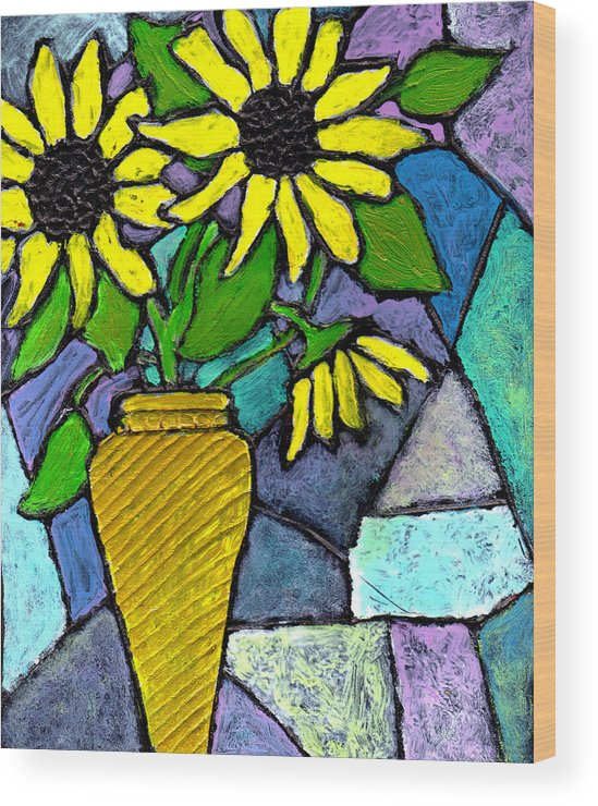 Flowers Wood Print featuring the painting Sunflowers In A Vase by Wayne Potrafka