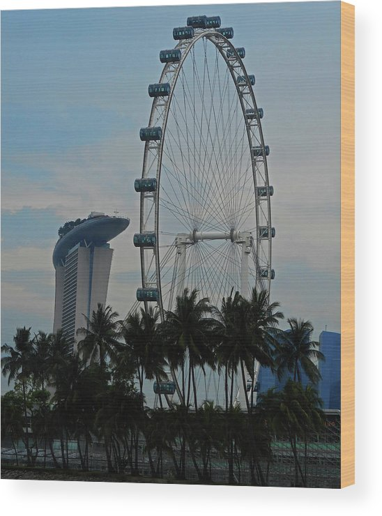 Singapore Wood Print featuring the photograph The Ferris Wheel 3 by Ron Kandt