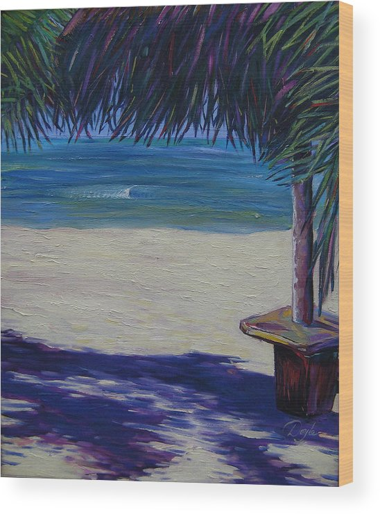 Ocean Wood Print featuring the painting Tropical Beach Shadows by Karen Doyle