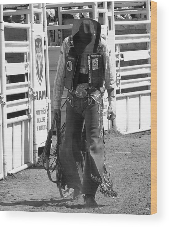 Cowboy Wood Print featuring the photograph Try Again Cowboy Black And White by Andrea Arnold