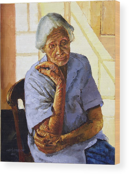 Old Woman Wood Print featuring the painting Turning Inward by John Lautermilch