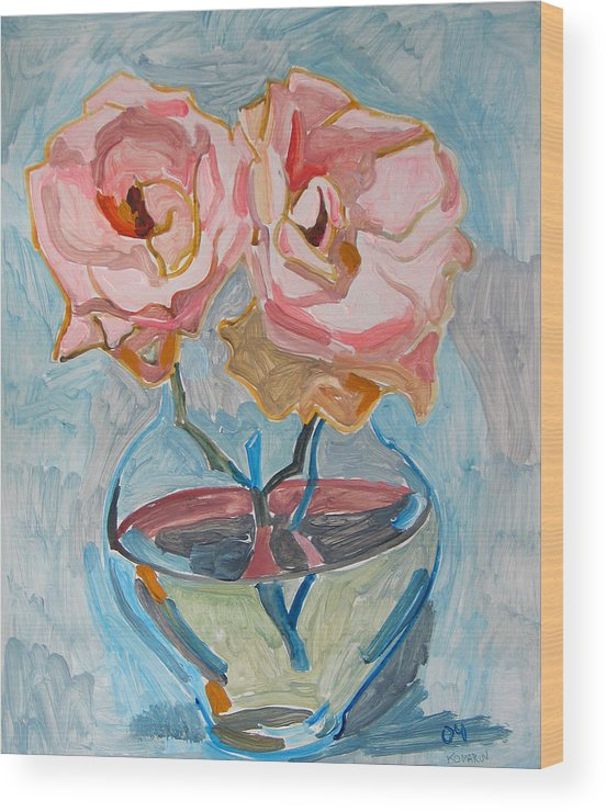 Rose Wood Print featuring the painting Two Pink Roses by Vitali Komarov