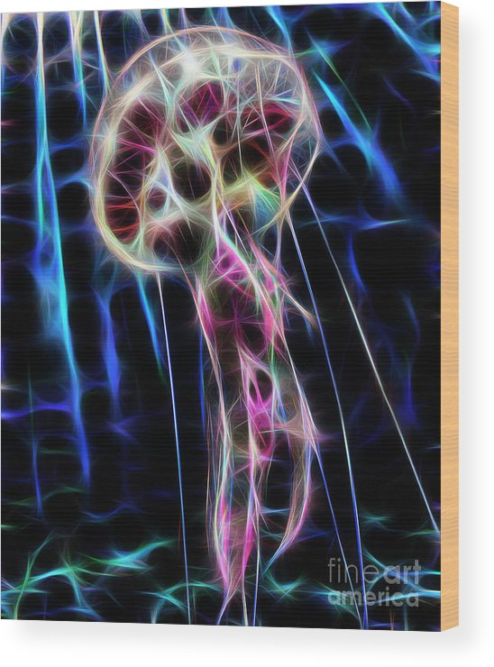 Jellyfish Wood Print featuring the digital art Ufo Under The Sea by Drazen Kirchmayer