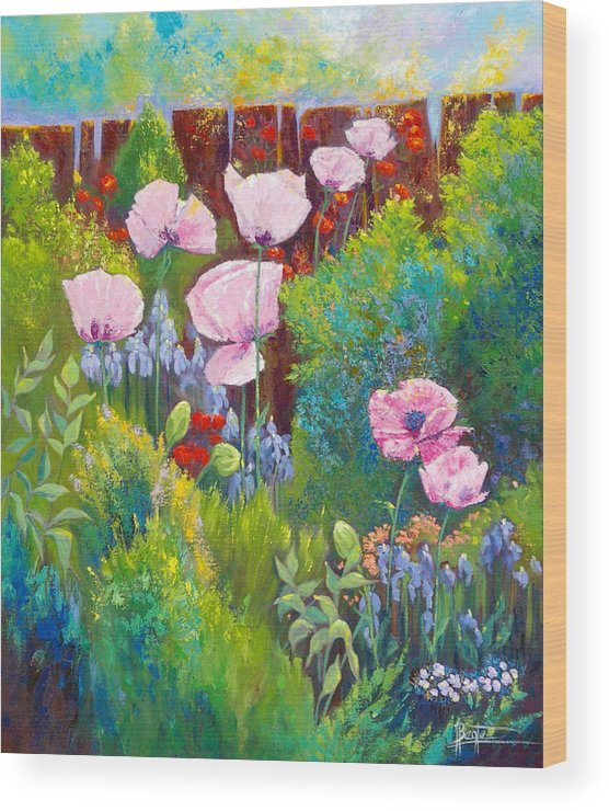 Floral Garden Wood Print featuring the painting Verna by Bente Hansen