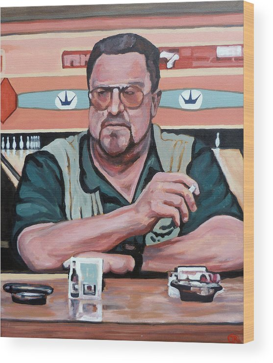 The Dude Wood Print featuring the painting Walter Sobchak by Tom Roderick