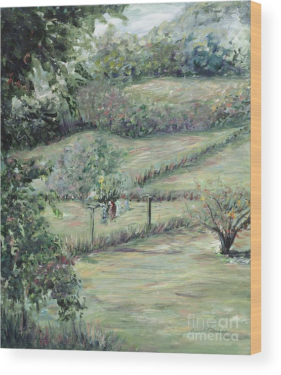 Landscape Wood Print featuring the painting Washday In Provence by Nadine Rippelmeyer