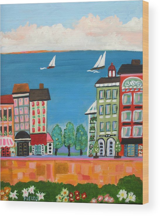 Cityscape Wood Print featuring the painting Waterfront by Karen Fields