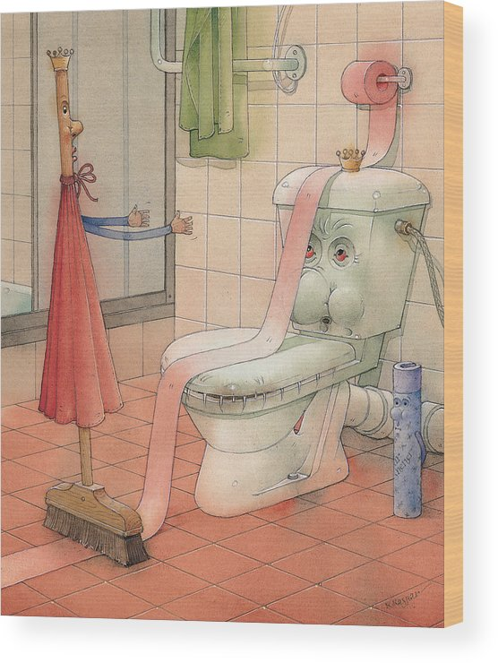 Wc Wood Print featuring the painting Wc Story by Kestutis Kasparavicius