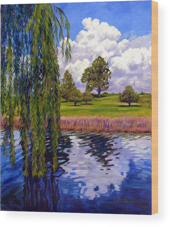Landscape Wood Print featuring the painting Weeping Willow - Brush Colorado by John Lautermilch