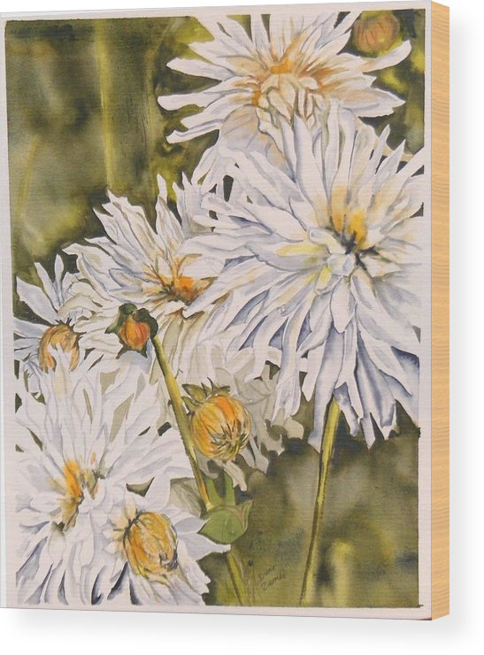 White Wood Print featuring the painting White Dahlias by Diane Ziemski