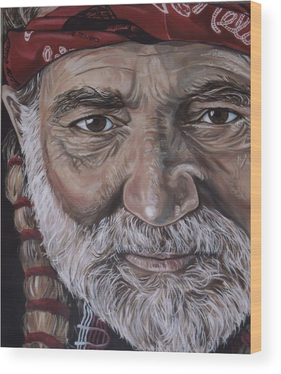 Portrait Wood Print featuring the painting Willie by Diann Baggett