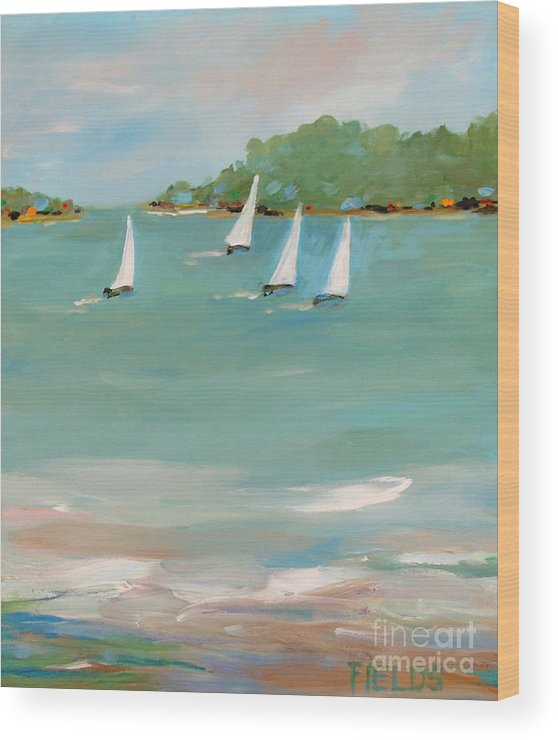 Sailboat Wood Print featuring the painting Wind And Sails by Karen Fields