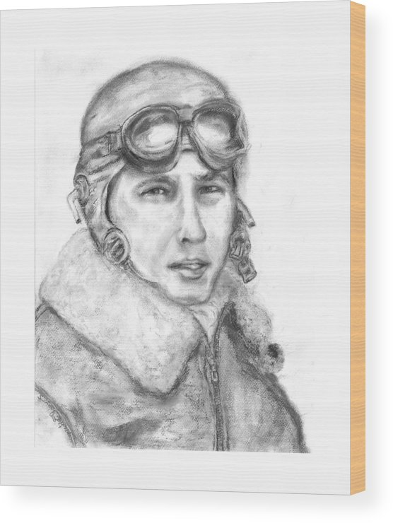 Portrait Of A World War Ii Wood Print featuring the painting Wwii B17 Gunner by Suzanne Reynolds