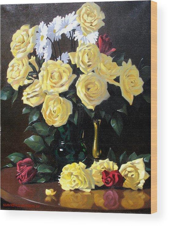 Roses Wood Print featuring the painting Yellow Roses by Kevin Lawrence Leveque